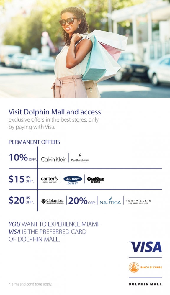 Dolphin Mall Discounts with BdC VISA Credit Card